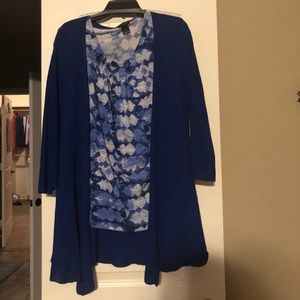 Blue cardigan and sleeveless blouse set